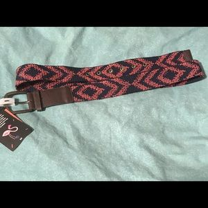 Plus Size woven and faux leather belt.